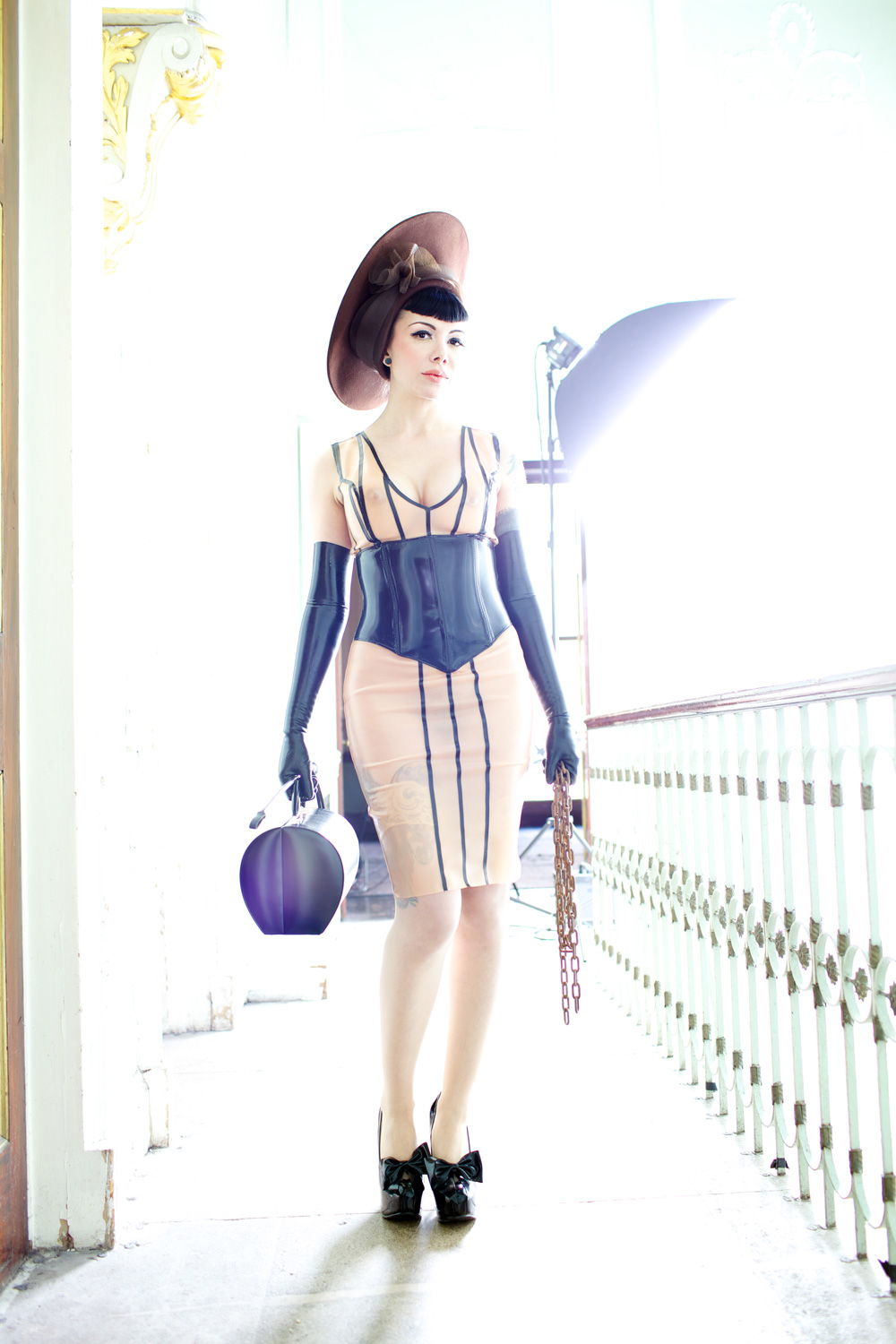 Pinstripe Dress with Incorporated Waspie