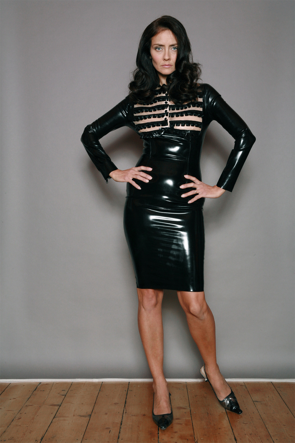 Ruffle Front Fitted Dress