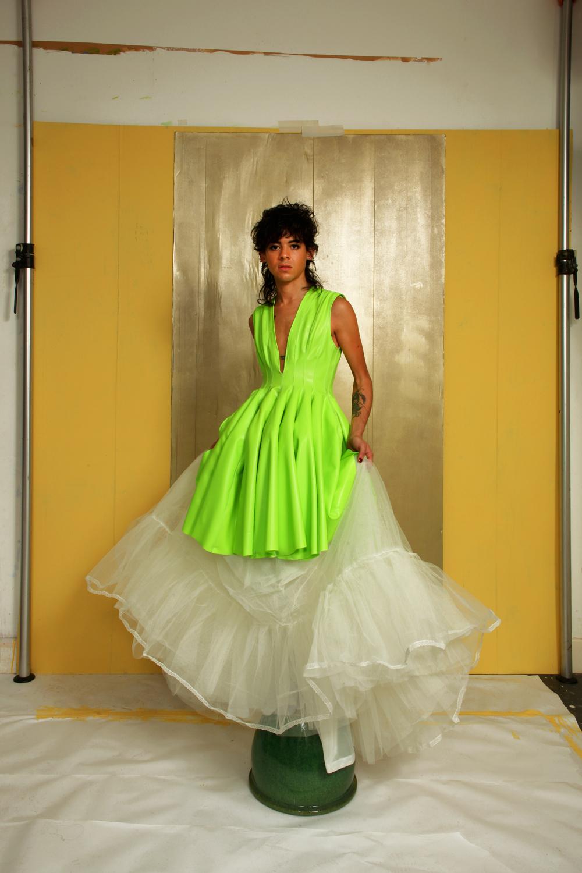 Quilted Godet Dress